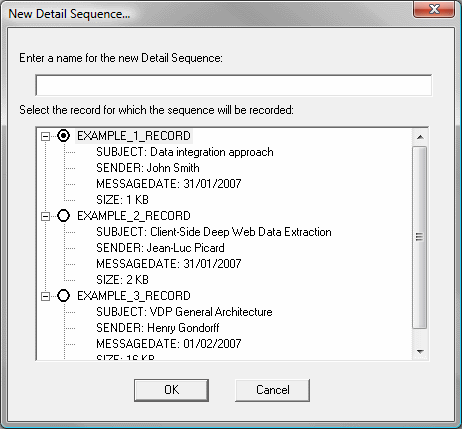 Detail sequence dialog