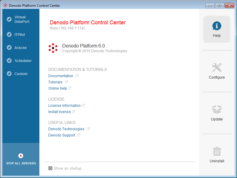 Denodo Platform Control Center Help screen
