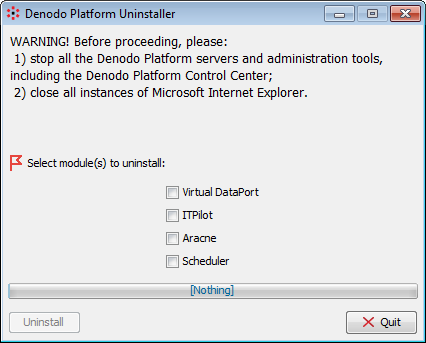 Uninstalling the Denodo Platform