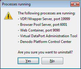 Processes running warning