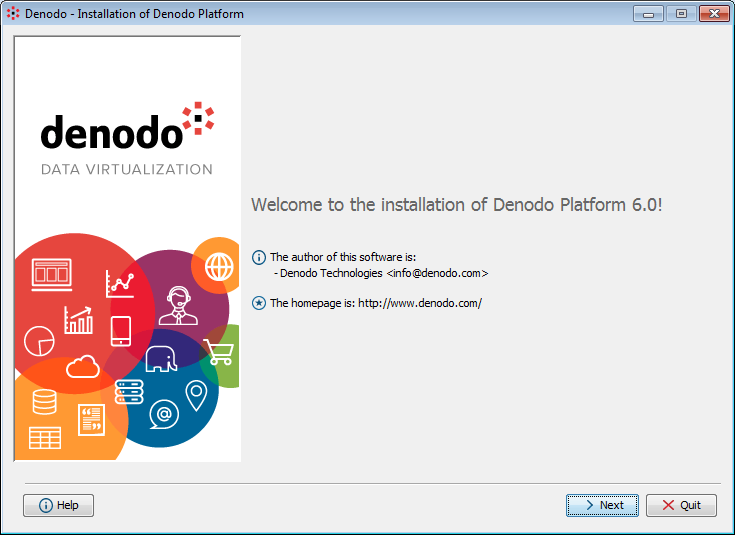 Initial installation screen for the Denodo Platform