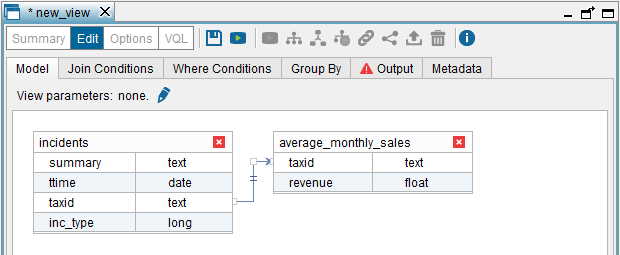 "Constructing the incidents and average_monthly_sales join view (""Model"" tab)"