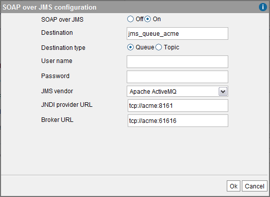 SOAP over JMS configuration dialog