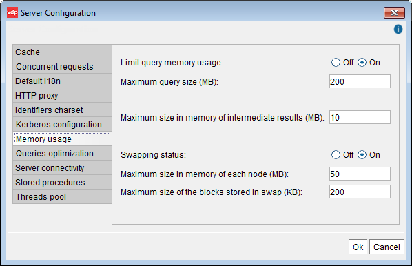 Memory Usage configuration