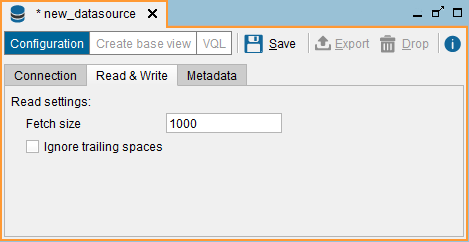 "ODBC data source: ""Read & Write"" tab"