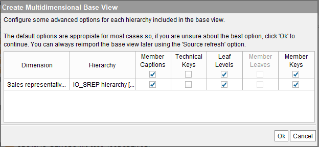 "Creating a SAP BW (BAPI) base view with ""Include Member Keys"" selected (1)"