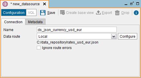 Creating a JSON data source