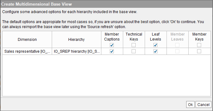 Options for configuring SAP BW base view.