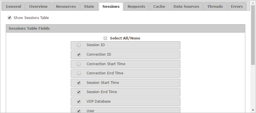 Session tab of the configuration
