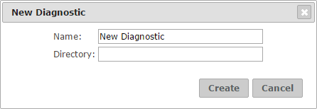 Dialog to create a new diagnostic