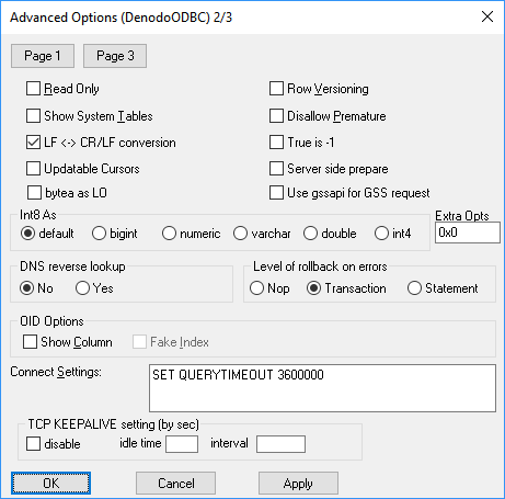 Denodo ODBC driver: advanced configuration (Page 2)