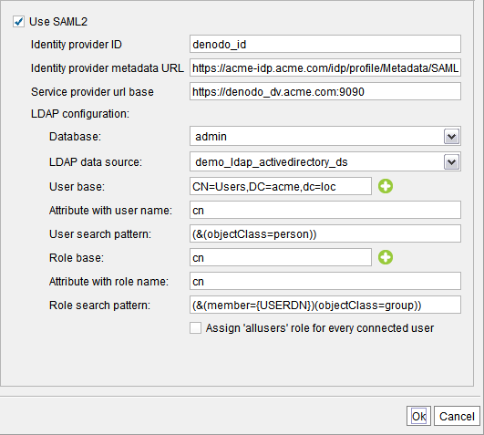 Global configuration of SAML authentication
