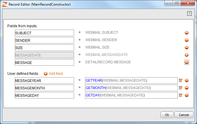 Output record of the Record Constructor component