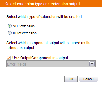 Selecting the extension type and its output