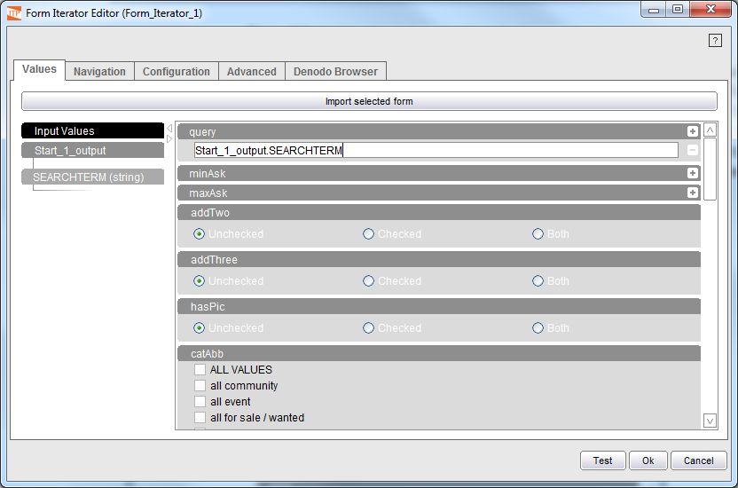 Selecting values in the form fields (1)