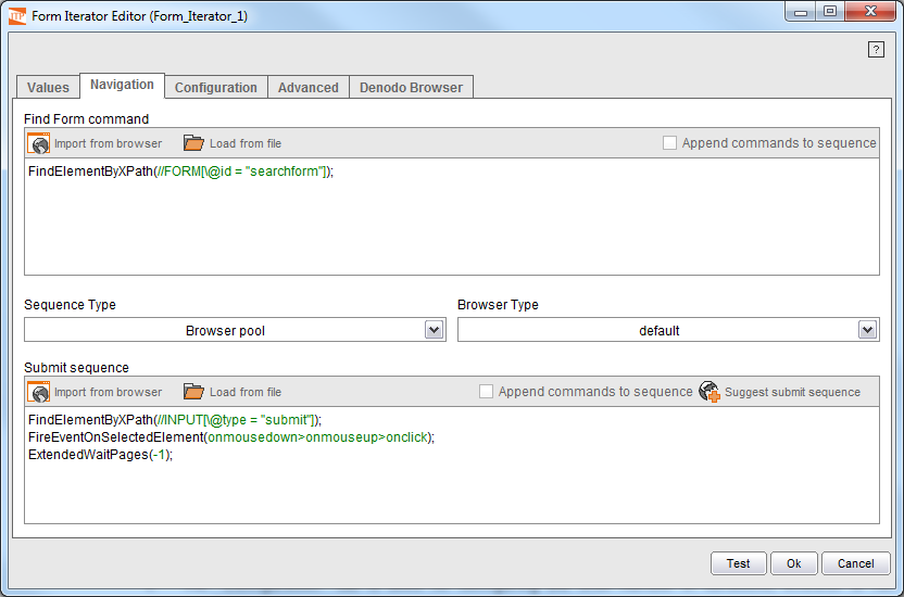Selecting values in the form fields (2)