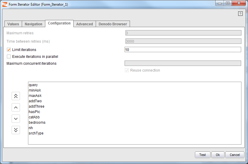 Configuration tab for the Form Iterator component