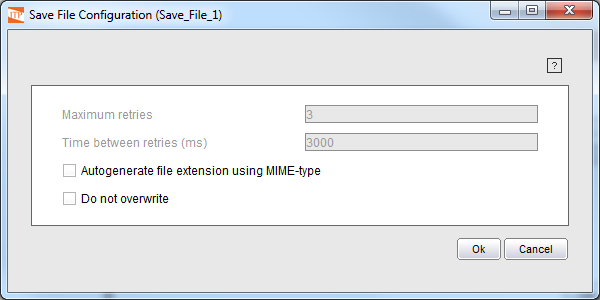 Save File component Wizard with folder and file name specified
