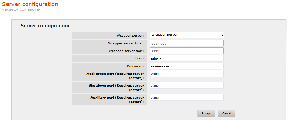 Setting the Verification Server ports and selecting the Wrapper Server