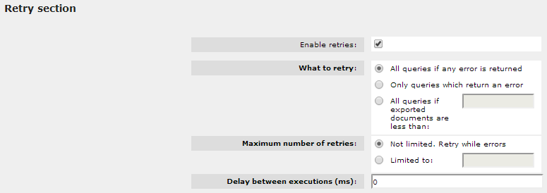 Example of the retries section