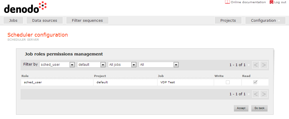 Job permissions screen