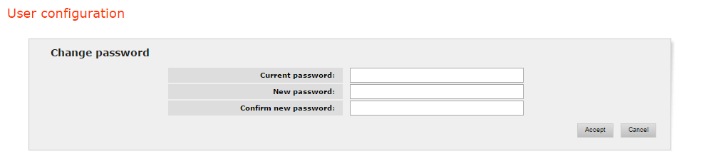 Change password screen