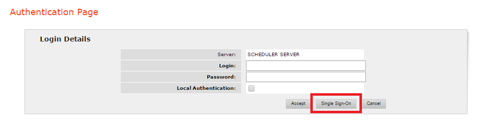Authentication dialog with Single Sign-On