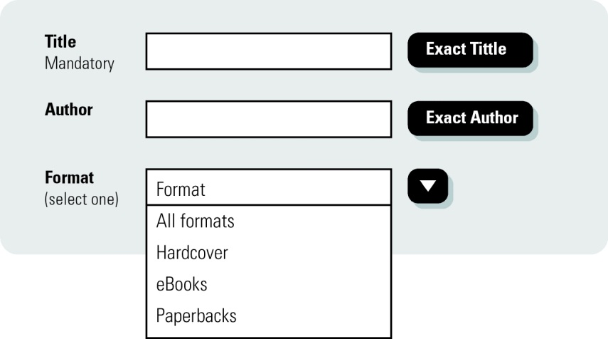 Search form for a bookshop