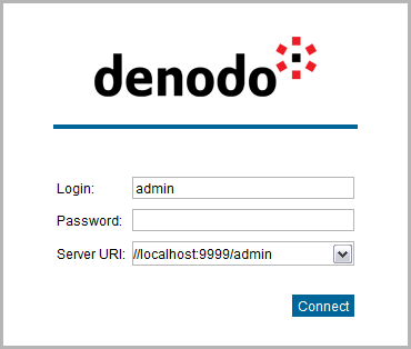 Authentication screen in the Virtual DataPort Administration Tool