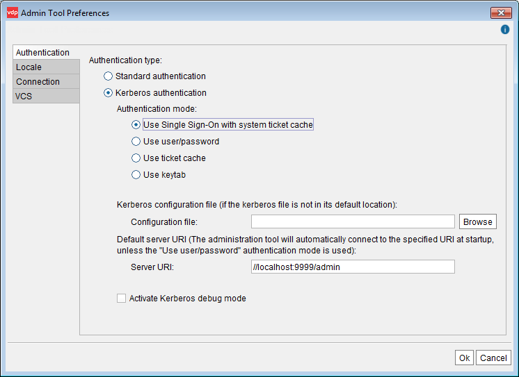 Setting up Kerberos authentication in the Administration Tool