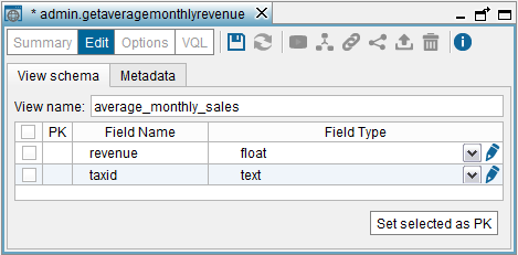Creating the Web service base view average_monthly_sales