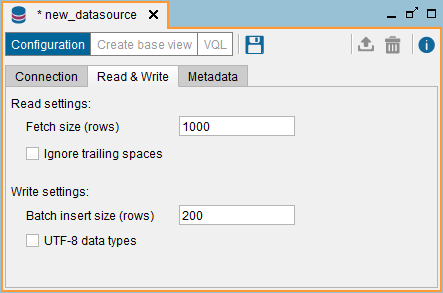 "JDBC data source: ""Read & Write"" tab"