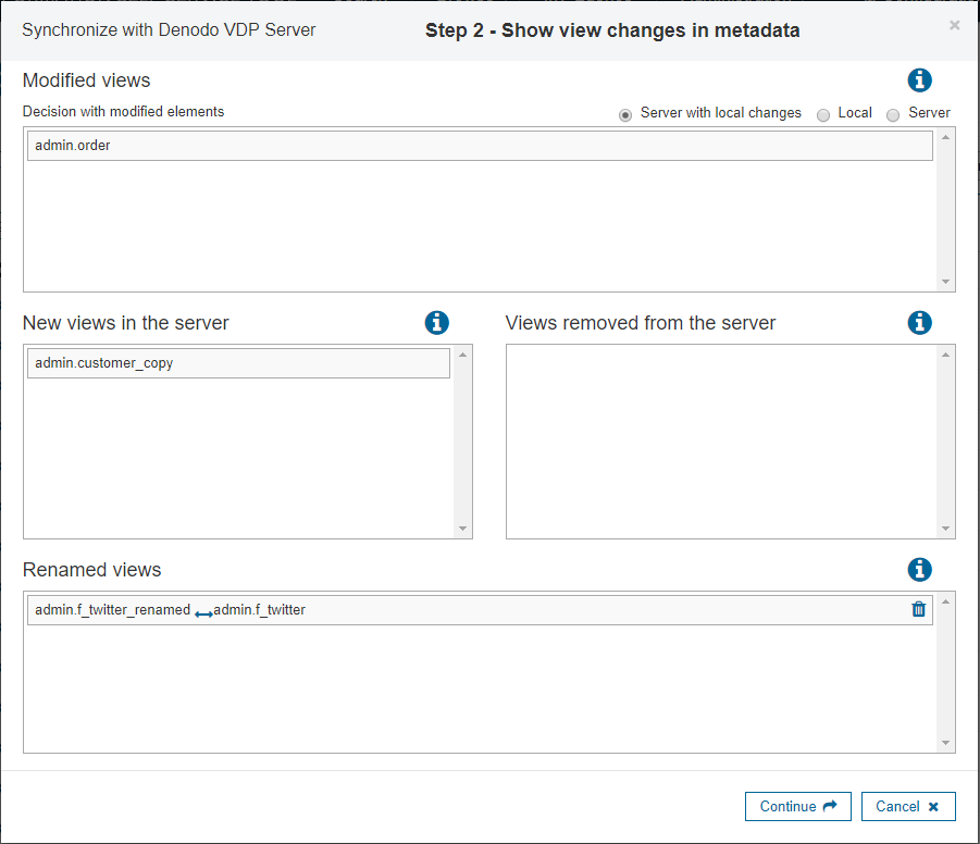 Synchronize Metadata with Denodo VDP Server