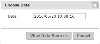 Dialog to obtain the data sources at a specific date