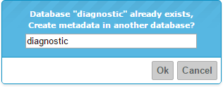 Confirmation dialog of the diagnostic database name