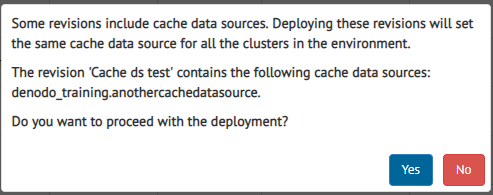 Warning message when deploying revisions with cache data source a in multicluster environment