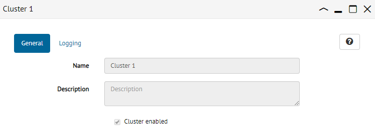 Cluster dialog from a JMX administrator perspective