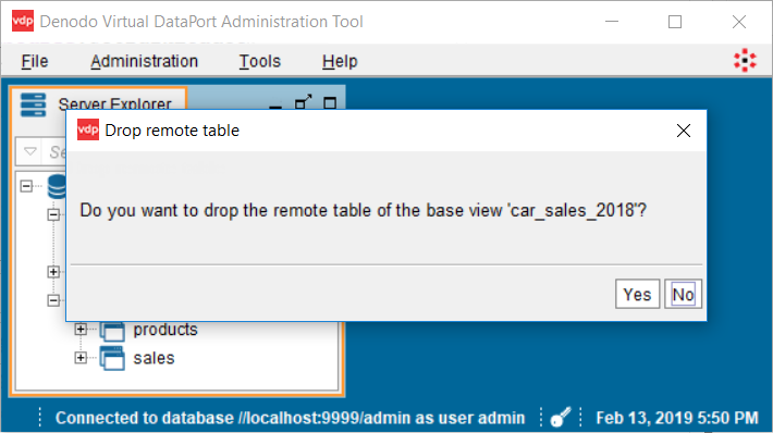 Drop remote table and base view without dependencies