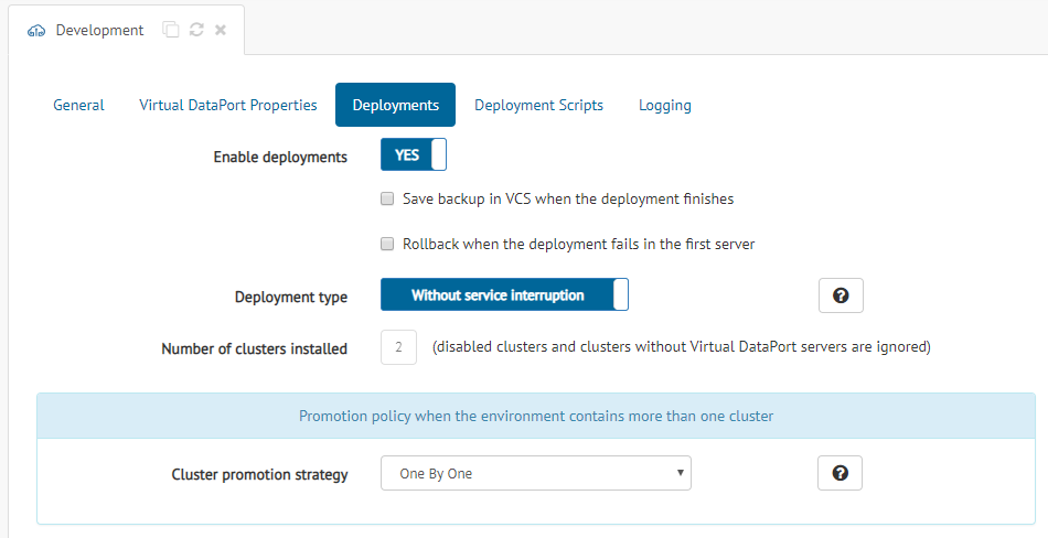 Configuration options available when the environment contains more than one cluster