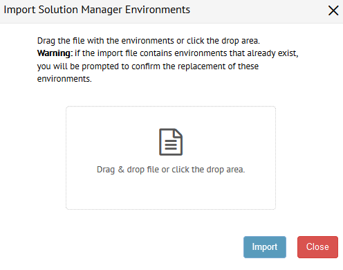 Dialog to import the Solution Manager catalog