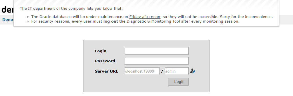 Informative message dialog at login page