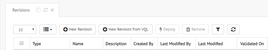 "Load a revision from VQL by clicking the ""New Revision from VQL"" button in the revisions table"
