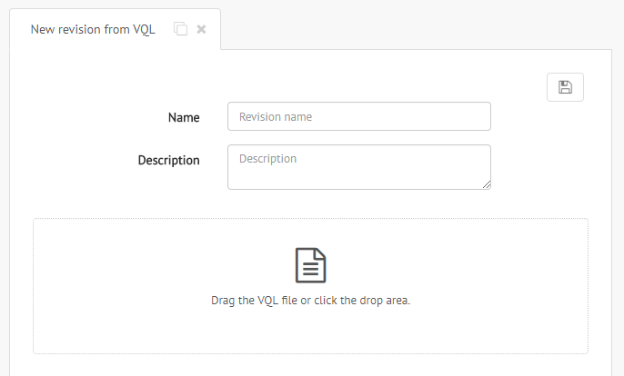 Dialog to create a new revision from VQL