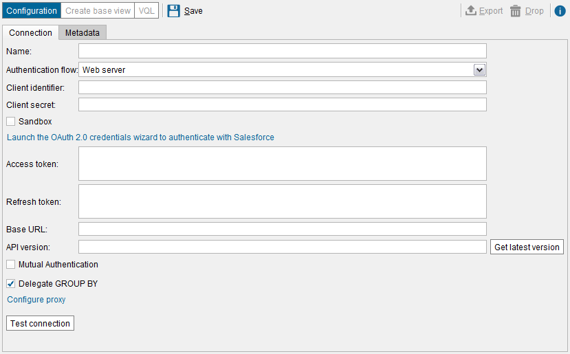 Creating a Salesforce data source using the Web server flow