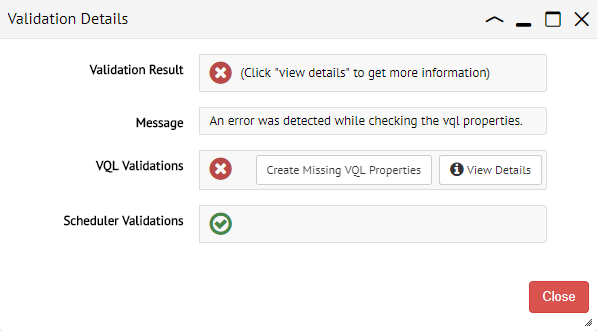 Dialog with the result of a validation