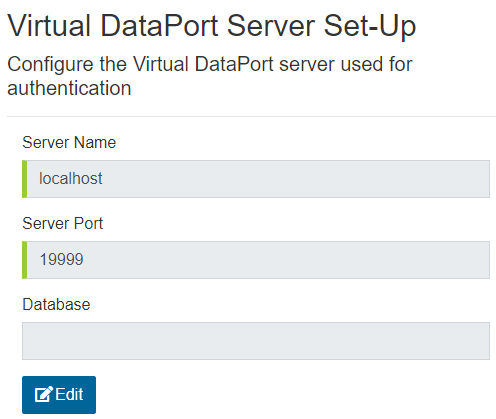 Virtual DataPort Server Set-Up