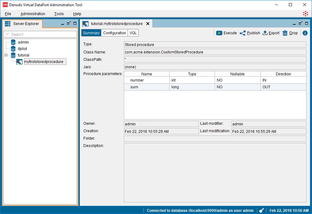 VDP Admin Tool - New Stored Procedure Wizard