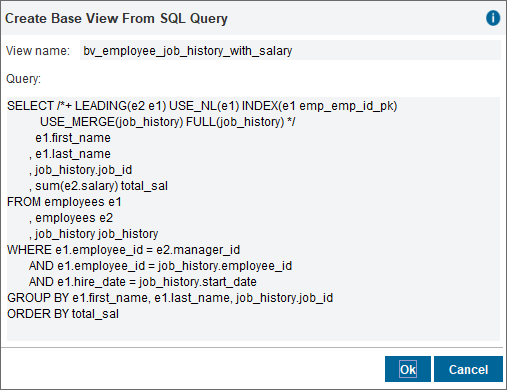 Creating a base view from a SQL query