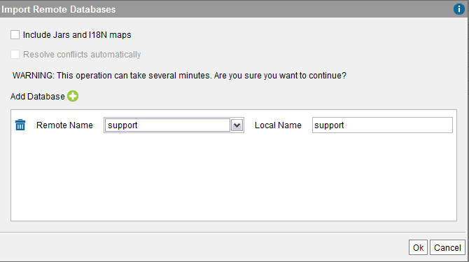 """Import Remote Databases"" dialog"