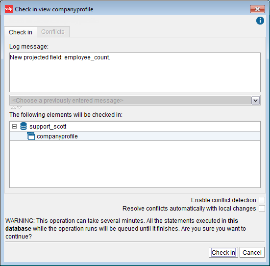 "Check in dialog with ""conflict detection"" disabled"